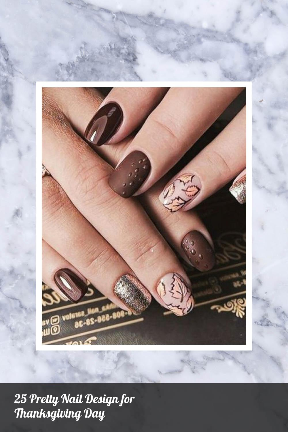 25 Pretty Nail Design for Thanksgiving Day 4